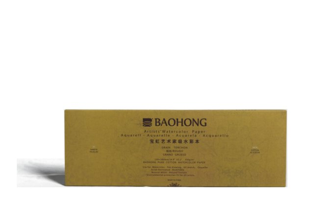Bloco para aquarela Baohong Artists' watercolor Rough - 380x130mm 300gsm 20 folhas