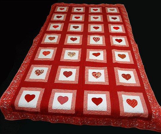 Colcha Solteiro Corações Vermelho