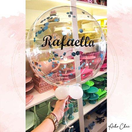 Bubble Personalizado com Nome e Confetes - Gás Hélio