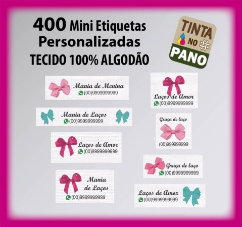 400 Mini Etiquetas para Acessórios de Cabelo