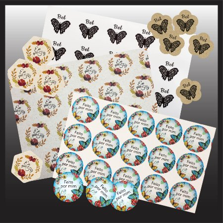 3 LOTES - Adesivos Personalizados p/ Embalagens - Papéis Formatos e Medidas Versáteis