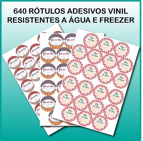 640 Rótulos Vinil Resistentes a Água e Freezer 3,8x3,8cm - Personalizados