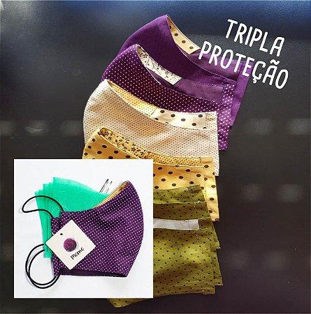 Máscara de PANO Tripla Proteção, Reutilizável