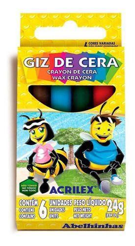 Giz De Cera C/6 Cores 24g Não Tóxico Acrilex