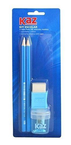 Kit Escolar Kaz C/2 Lapis Hb Apontador E Borracha Azul