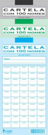CARTELA RIFA COM 100 NOMES