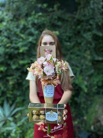 Cone de Alstromelia com Ferrero Rocher 100g