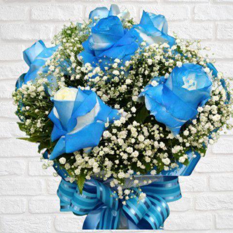 Buquê com Rosas Azuis