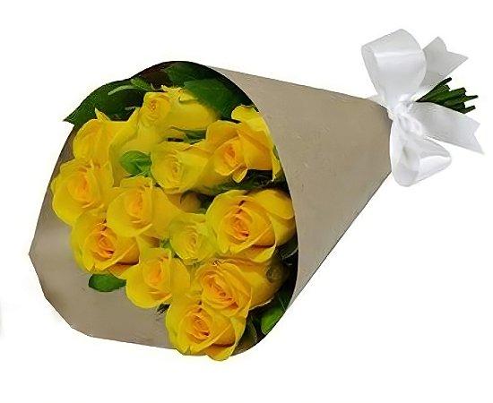 Bouquet de Rosas Amarelas no kraft