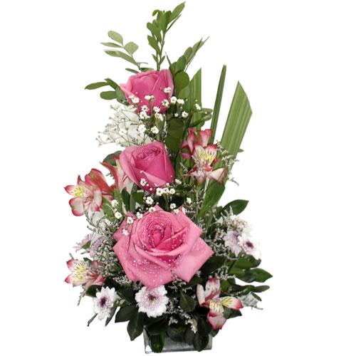 Mini de rosas rosa com astromelia