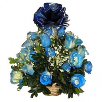 Mini cesta de rosas azuis