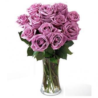 Jarra de vidro de rosas Lilas