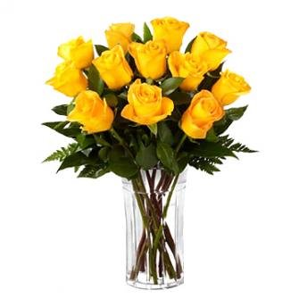 Jarra de vidro de rosas Amarelas