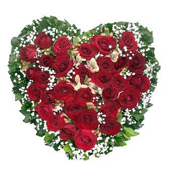 Coração 20 rosas vermelhas