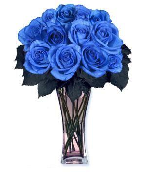 Jarra de vidro de rosas azuis