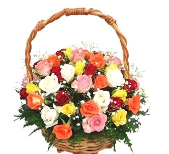 Cesta com 36 rosas coloridas