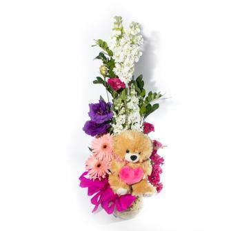 Arranjo de Flores com Ursinho de Pelúcia
