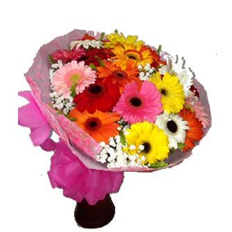 Bouquet com 24 Gérberas Coloridas