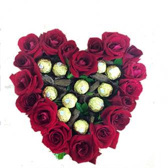 Coração de rosas com ferrero