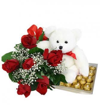 Bouquet de rosas + urso + ferrero