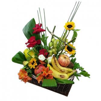 Ikebana de Flores com Frutas