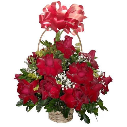 Cesta redonda de rosas importadas