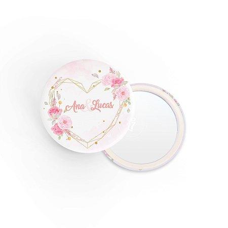 Kit Espelho Lembrancinha Casamento Rosas Coração