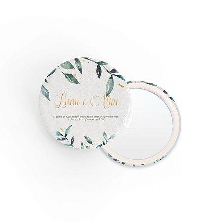 Kit Espelho Lembrancinha Casamento Folhas Verdes
