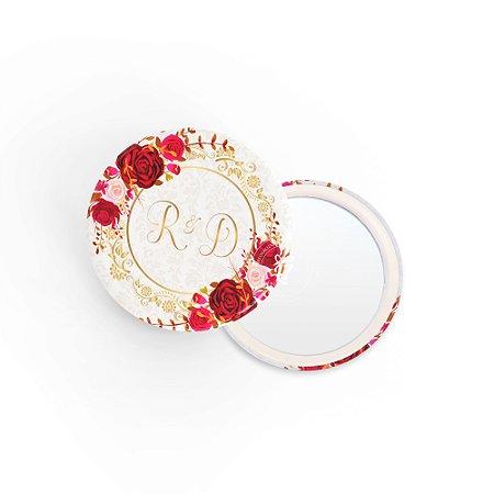 Kit Espelho Lembrancinha Casamento Arco Rosas