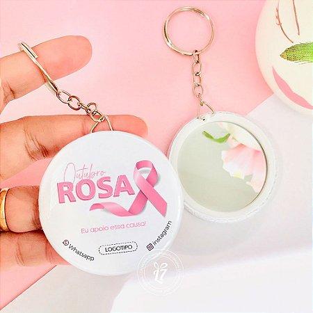 Kit Espelho Chaveiro Brinde Outubro Rosa Rose