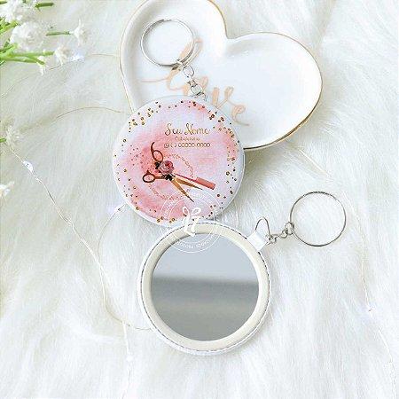 Kit Espelho Chaveiro Perolado Branco