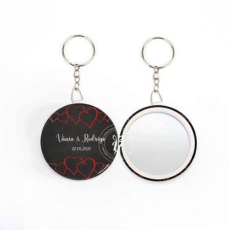 Kit Espelho Chaveiro Lembrancinha Casamento Coração