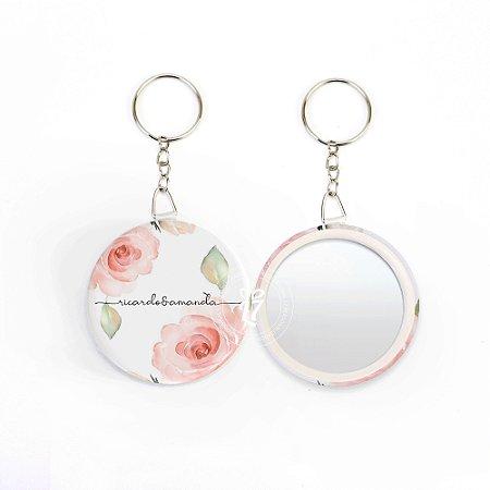 Kit Espelho Chaveiro Lembrancinha Casamento Floral