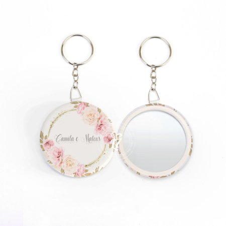 Kit Espelho Chaveiro Lembrancinha Casamento Rosa