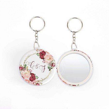 Kit Espelho Chaveiro Lembrancinha Casamento Rose