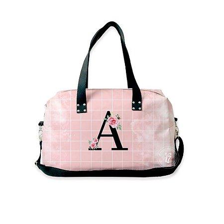 Bolsa de Viagem Personalizada Rosa Quadriculada