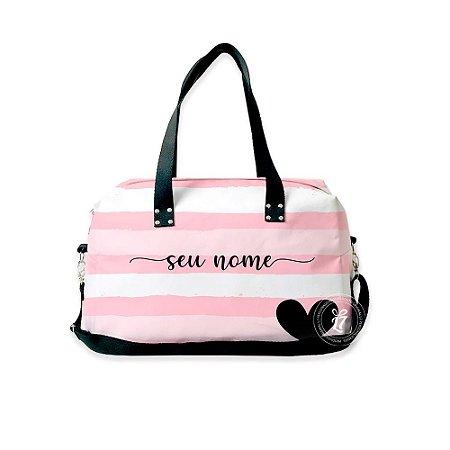 Bolsa de Viagem Personalizada Listrada Rosa