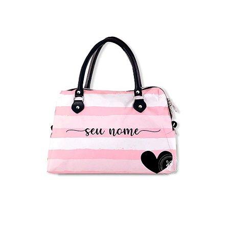 Bolsa de Mão Personalizada Listrada Rosa