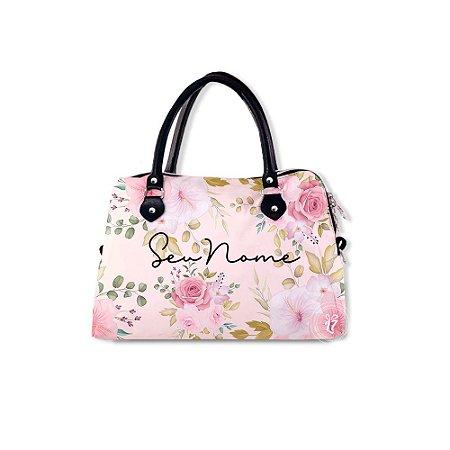 Bolsa de Mão Personalizada Flores Rosas