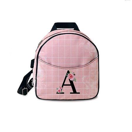 Mochila Mini Bag Personalizada Rosa Quadriculada