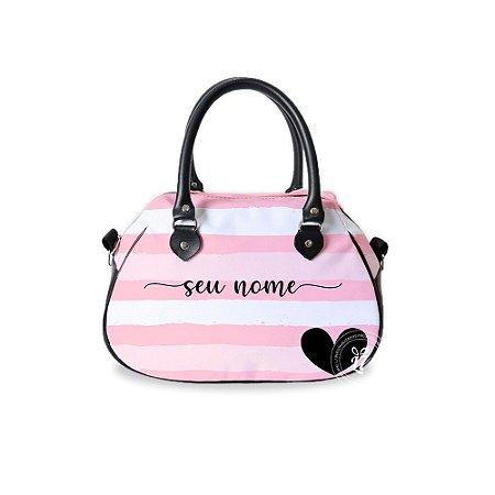 Bolsa de Mão Courino Personalizada Listrada Rosa
