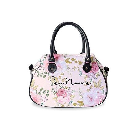Bolsa de Mão Courino Personalizada Flores Rosas