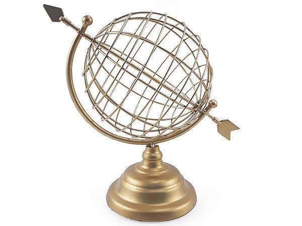 Globo Terrestre Modelo Flecha Enfeite de Mesa Em Metal Dourado  26x18 cm
