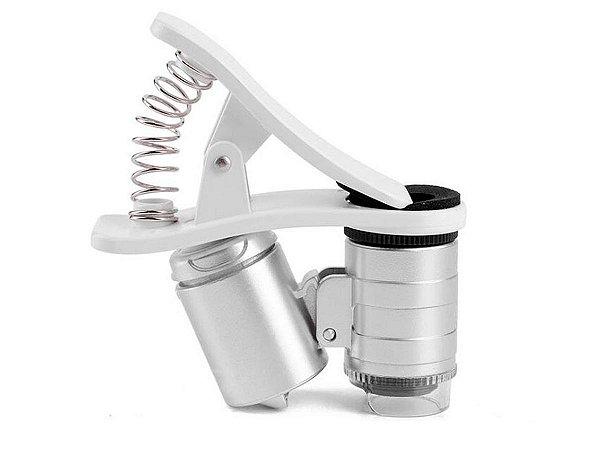 Mini Microscópio De Celular Com Ampliação De 60x Led Luz Branca e Ultravioleta Com Clip