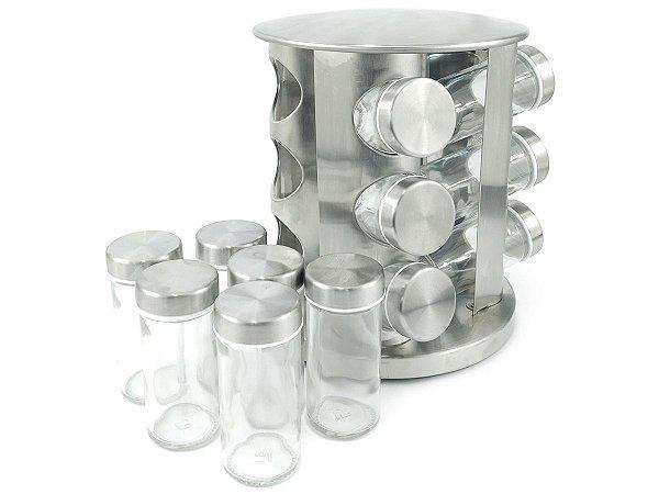 Porta Tempero Redondo Em Aço Inox Com Base Giratória e 12 Potes De Vidro