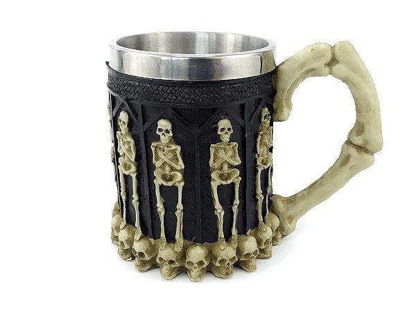 Caneca Esqueleto Humano 400ml Copo Decorativo Com Alça em Metal e Resina Preto