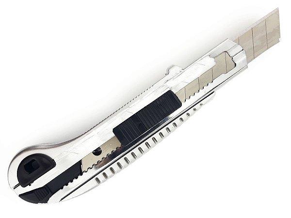 Estilete Profissional Metal 5 Lâminas 10cm Com Trava Segurança