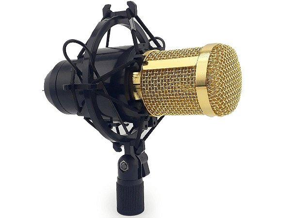 Microfone Condensador Profissional P2 Com Protetor Ante Choque Espuma Ante Ruído