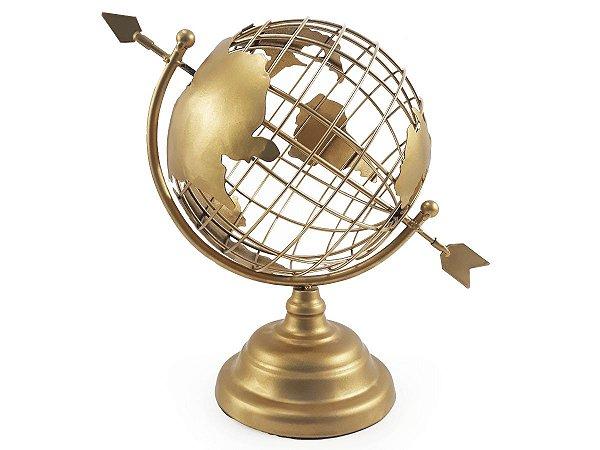 Globo Terrestre Decorativo Enfeite de Mesa Metal 29x18 cm Dourado