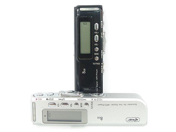 Gravador De Voz Digital Lcd Memoria Interna De 8Gb Função Mp3 Player
